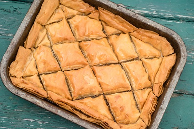 Baklava with lemon syrup