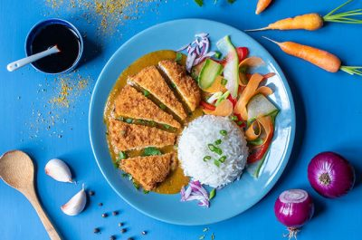 Chicken Katsu with rice and pickled vegetables